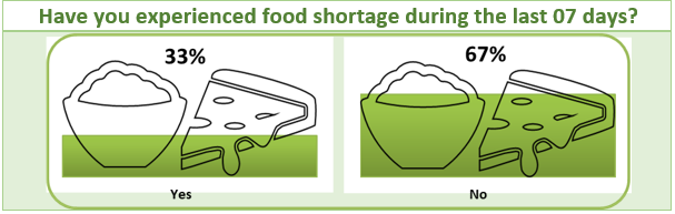 Survey Results: Have you experienced food shortage during the last 07 days?